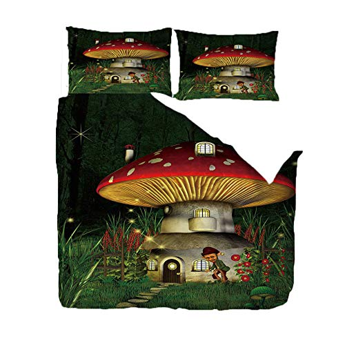 BZCBX Bettwäsche 3D Bettbezug Rufen Sie Mushroom House An Bettwäsche Set 3 Teilig Bettbezüge Mikrofaser 100% Polyesterfaser, Bettbezug Mit Reißverschluss und 2 Kissenbezug 135 X 200 cm