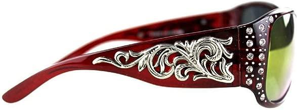 Montana West Filigree Swirl Scroll Rhinestone Girls Womens Sunglasses (Red)
