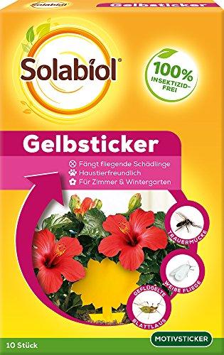 Solabiol Gelbsticker Insektenabwehr mit Spezialleim ohne Insektizide, gegen Trauermücken, Weiße Fliegen, Minierfliegen und andere fliegende Schädlinge, 10 Stück mit Blumenmotiv