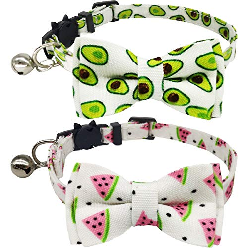 KUDES 2 Pack/Set Cat Collar Breakaway with Cute Bow Tie and Bell for Kitty and Other Small Dogs...