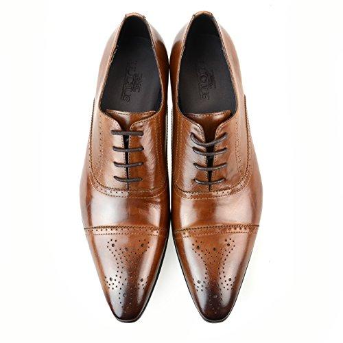 [ルシウス] ビジネスシューズ 革靴 メンズ 本革 レザー レースアップ スリッポン ダブルモンクストラップ 内羽根 外羽根 ロングノーズ ドレスシューズ ストレートチップ プレーントゥ Uチップ 春 靴 D [ ZNX93B ] ブラウン 39(24.5cm)