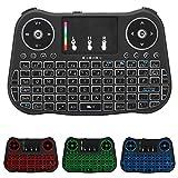 yidenguk Tastiera Wireless Retroilluminata - 2.4GHz Mini Tastierino Wireless Portatile con Touchpad Mouse e Batteria Ricaricabile per PC, Pad, Android/Google TV Box, PS3, Xbox 360, HTPC, IPTV