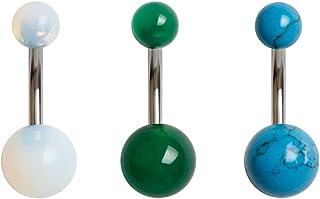 WASOLIE 5 قطع 14G Belly Button Ring Piercing للنساء 316L الفولاذ المقاوم للصدأ الطبيعي مختلط الحجر السرة خواتم الجسم المجو...