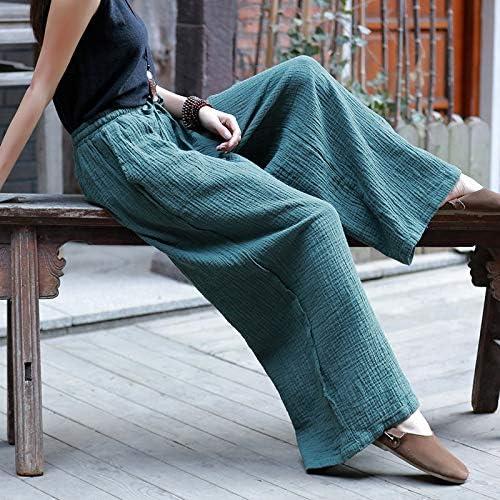 KTKZSS Pantalon Décontracté Coton Lin Cordon Long Longueur Pantalon pour Femmes Lâche Vintage Pantalon À Jambes Larges Vert