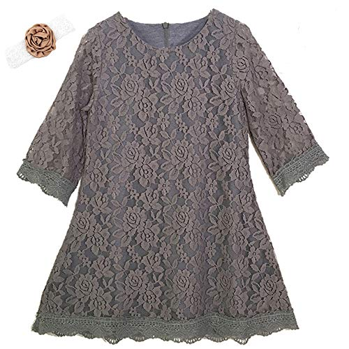 Lace 3/4 Sleeve Dress Vintage Lace Tutu Tulle Dresses for Wedding Party Easter Pageant Size 5-6Years Old Kids Sleeveless Ball Gowns Ruffle Spring Special Occasion Knee Length (Gray 140)