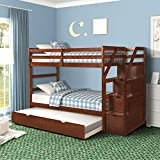 Twin-Over-Twin Bunk Bed for Kids, Wood Twin Bunk Bed with Storage and Trundle