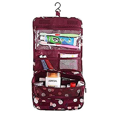 Freesoar Portable Hang Travel Toiletry Bag Organize Cosmetic Women Makeup or Men Shaving Outdoor Kit with Hanging Hook (red flower)