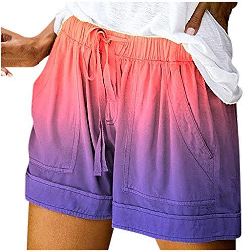 Xniral Damen Sommer Einfarbige Shorts mit Kordelzug und Elastischer Tasche Kunstleder Tie-dye Farbverlauf Hohe Taille Shorts(b-Mehrfarbig,3XL)