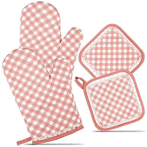 ZORR Ofenhandschuhe und 2 Topflappen Set, Topfhandschuhe Backofenhandschuhe Hitzebeständige für Kochen & Backen (Pink)