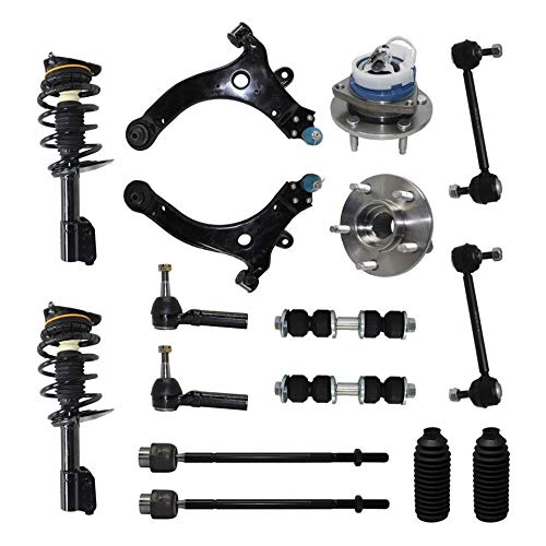 Detroit Axle - Complete 16pc Suspension Kit - Front Strut Assemblies, Wheel Hub Bearings, Lower Control Arms w/Ball Joints, Inner Outer Tie Rod Ends,Sway Bar Links - FWD Models