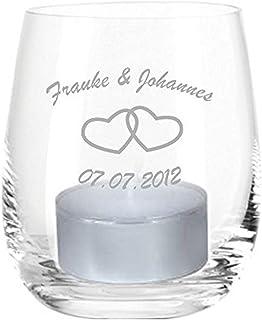 4youDesign Leonardo Teelicht mit Gravur Name u. Datum/Herzen, Windlicht, Geschenkidee, Hochzeitsgeschenk, Geburtstagsgeschenk