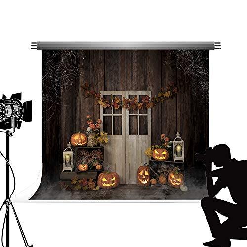 Kate Backdrop 2.2x1.5m Fotografía de Halloween Telón de Fondo Brillante Calabaza Linterna Fondo Gris Oscuro Interior Decoración de Madera Disparos de Halloween