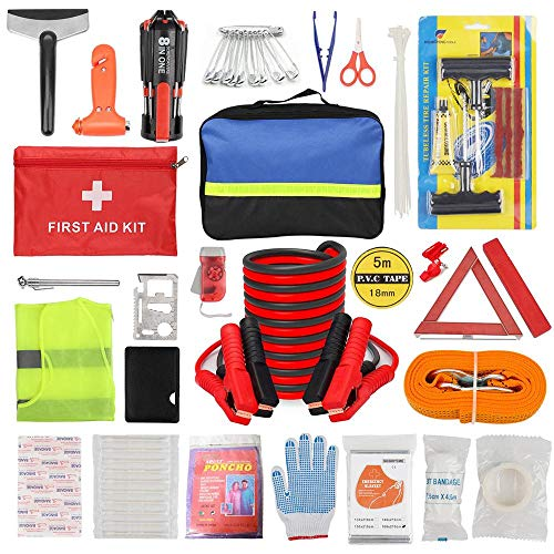 Car Roadside Emergency Kit with Jumper Cables,Auto Vehicle Truck Safety Emergency Road Side Assistance Kits with First Aid Kit, Tow Rope, Reflective Warning Triangle, Tire Pressure Gauge, Etc