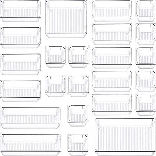 SIUNDAM Juego de 24 Organizadores de Cajón, Cajas Bandejas de Plástico Transparente Apilables Almacenamiento para Cajones, Escritorio, Cocina, Baño, Maquillaje, Armario - 5 Medidas Estrechos