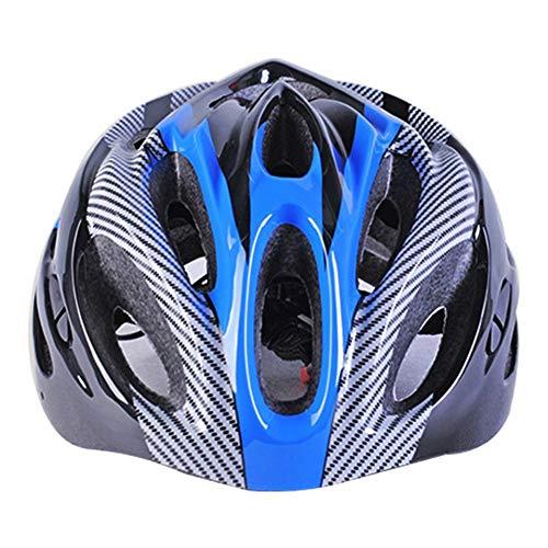 Matedepreso Fibra de Carbono Bicicleta de Montaña Carretera Adulto Bicicleta Equitación Casco Transpirable Ciclismo Casco - Azul, Free Size