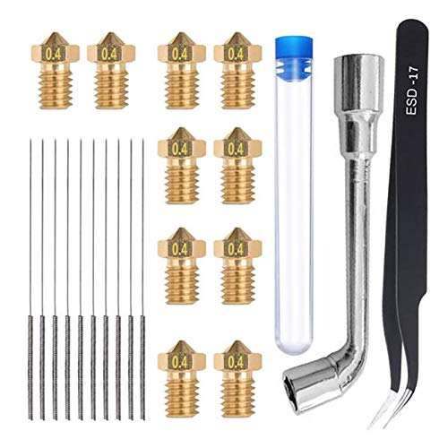 WNJ-TOOL, 23Pcs Nozzle Cleaning Kit 0.4mm Nozzle 0.4mm Cleaning Needle Tweezers Wrench 3D Printer Accessories