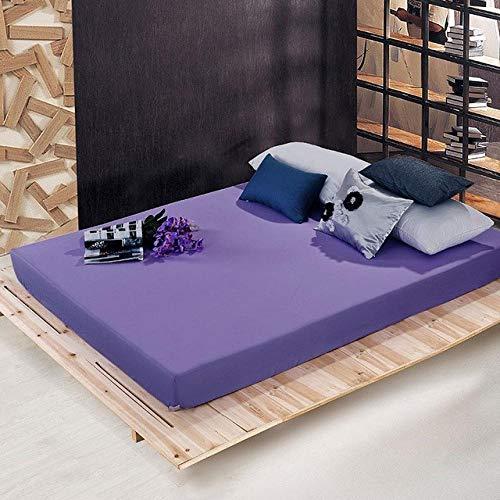 GaoTianyou Sábana Ajustable Funda de colchón Color sólido Ropa de Cama para lijar Color sólido Cepillado Ajustable, Twin Full Queen King-Purple_180x220x25cm_ (1pcs)