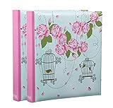 ARPAN BL57-X2 Álbum 5 x 7 Pulgadas, Espacio de Escritura para 200 Fotos, 13 x 18 cm, tamaño Perfecto para Regalo de Boda, Aniversario, cumpleaños, 2 Unidades (Jaula de pájaros Vintage Rosa), Papel
