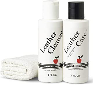Apple Brand Leather Cleaner & Conditioner Kit - For Use On Leather Purses, Handbags, Shoes, Boots & Accessories - Safe On All Colors