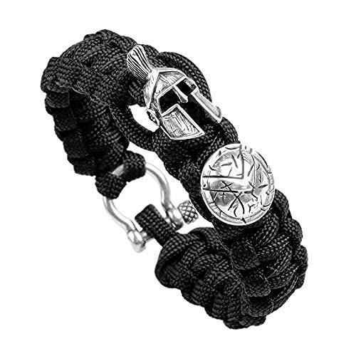 POIUIUYH Co.,ltd Collar Esparta de Lujo para Hombre, Pulsera para Acampar al Aire Libre, Supervivencia, brazaletes de Cuerda Hechos a Mano, Pulseras Vintage para Mujer, Pulseras