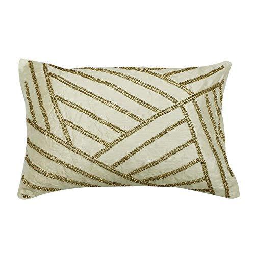 Funda de almohada oblonga de 30 x 45 cm, color marfil de 30 x 45 cm, fundas de almohada lumbar, diseño geométrico moderno, color dorado