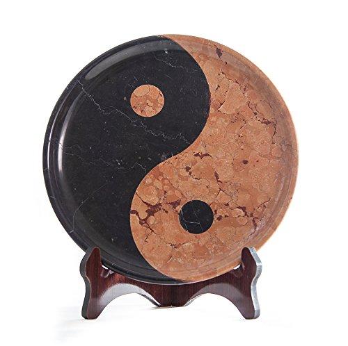 Yuchengstone - Piatto decorativo in marmo Yin Yang/Ying-Yang, ciotola decorativa in pietra naturale, dimensioni Ø/H: 30/3 cm, peso: ca. 6 kg