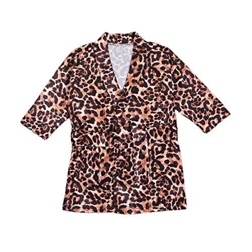 Niñas Niñas Niñas Kimono Albornoz Clásico Seda Satén Leopardo Pijamas Camisones Niña de Flores Traje de Niños Ropa de Dormir