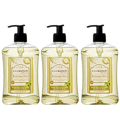 A La Maison de Provence Liquid Soap, Rosemary Mint, 16.9 Ounce (Pack of 3)