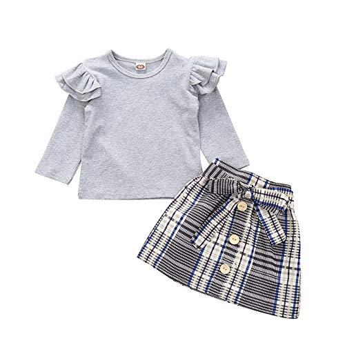 Kleinkind Säugling Kinder Baby Mädchen Rüsche T. Hemd Tops Plaid Bogen Rock Outfits einstellen A276