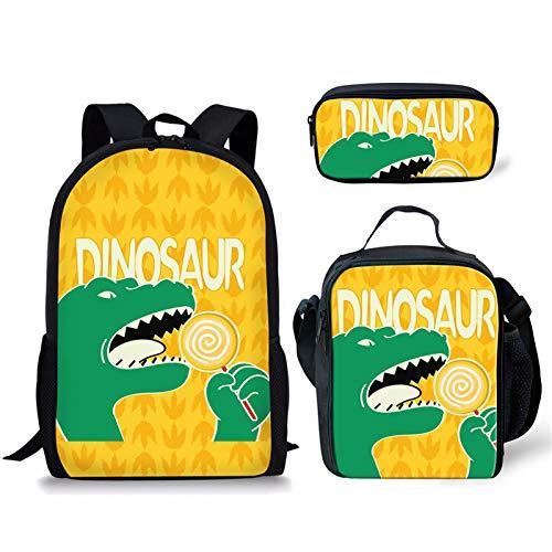 Sapotip Mochila de dinosaurio con diseño de animales frescos para niños, bolsa escolar y lonchera con estuche para lápices para niños