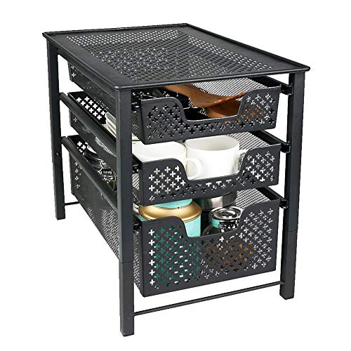MustQ Stackable 3 Tier Organizer Baskets with Mesh Sliding Drawers, Ideal Cabinet, Countertop, Pantry, Under The Sink, and Desktop Organizer for Bathroom,Kitchen, Office.