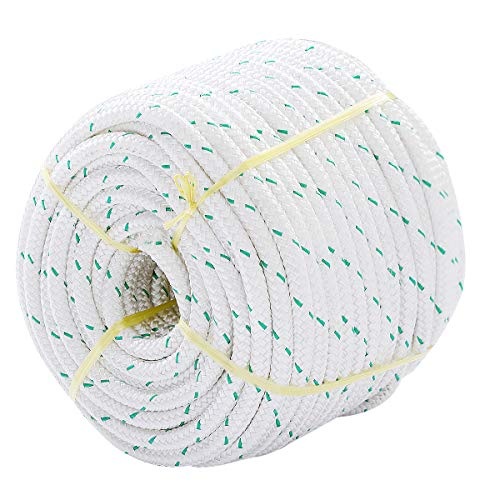 """Giantex 3/7"""" Durable Braid Polyester Rope, 150 ft Heavy Duty Rope for Tie, Pull, Swing, Climb and Knot, High Strength Arborist Rope w/ 5953 lbs Breaking Strength, White"""