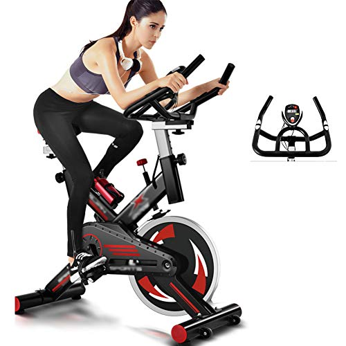 LQ&XL Bicicleta EstáTica Indoor - Bicicleta De Spinning - Ejercicio Fitness Bicleta con Pantalla Led, Volante,Ajuste De Resistencia, hogar de Adelgazamiento Adultos Unisex Soporte De Carga 250 Kg/Ne