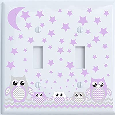Grey and Purple Owl Light Switch Plate Covers and Outlet Covers / Owl Nursery Decor