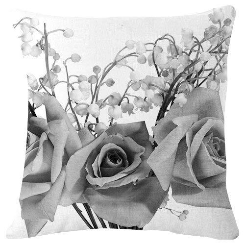 Duang Cushion Cover Rosen Maiglöckchen Blumenstrauß Blumen Schwarz-Weiß Dekorative Sofa Couch Couch Familie Doppelseitige Kissenbezug 45X45Cm Mode Langlebig Kissenbezug Reißverschluss Pa