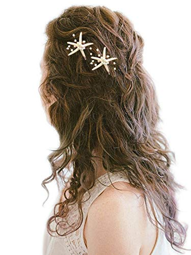 Barogirl Wedding Starfish Hair Pins Decorative Bridal Hairpin Set Beaded Hair Accessories Beach Wedding Hair Jewelry for Women and Girls 2 PCS (Silver)