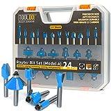 TOOLDO Router Bit Set 24 Pieces, 24A (24 pcs Model A), 1/4 inch Shank, Professional Router Bit Kit...