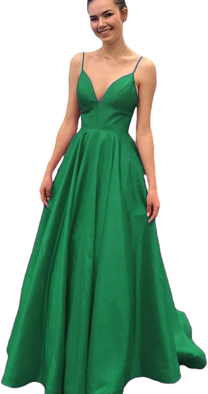 Dreagel VNeck Prom Dresses Spaghetti Straps Satin Formal Evening Gowns for Women