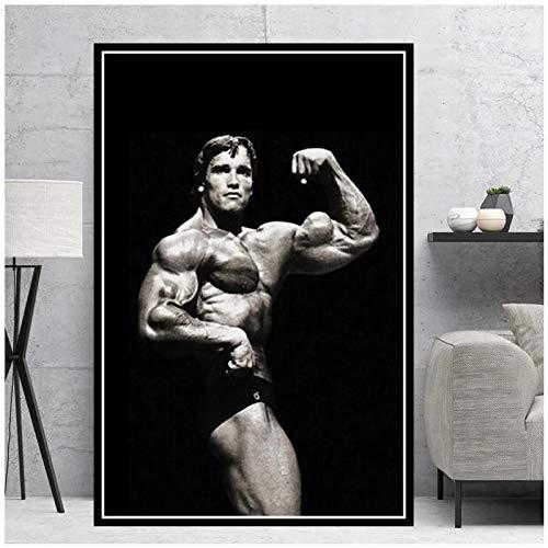 Impresiones de carteles Pintura al óleo Arnold Schwarzenegger Culturismo Fitness GIMNASIO Entrenamiento Arte de la pared Imágenes Decoración para el hogar -50x70cmx1pcs - Marco interior de madera