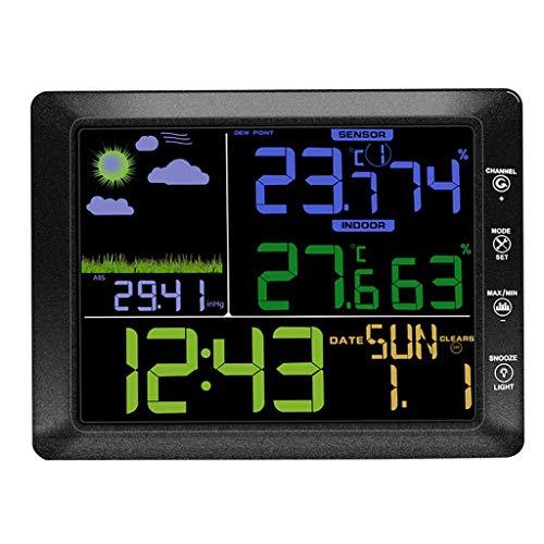 Homyl Orologio Stazione Meteo Senza Fili Display LCD Multifunzione Oro Data Settimana Nero