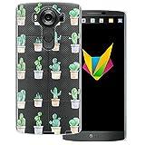 Mobilefox Coque de protection en silicone TPU ultra fine pour LG V10 Motif cactus Transparent 0,7 mm