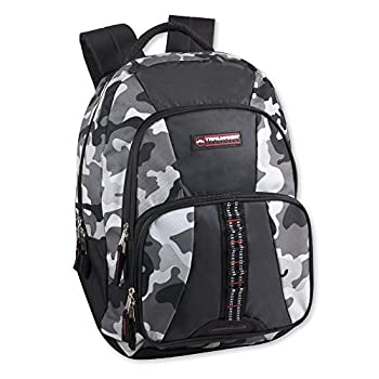 Trailmaker Tactical Military Style Camo Backpack with Lash Tabs and Padded Back and Straps Grey