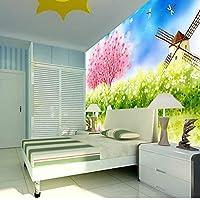 mzznz ロマンチックなピンクの花の木の風車3Dの壁の居間の壁紙のための3D部屋の写真の壁紙-400X280Cm