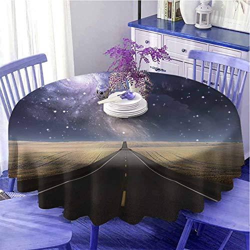 Surrealistico decorativo rotondo tovaglia Highway Leads Via Lattea Nebula Sky Mystic Life Fantasy Immagine per parenti Diametro 170,2 cm lilla cadetto blu sabbia marrone