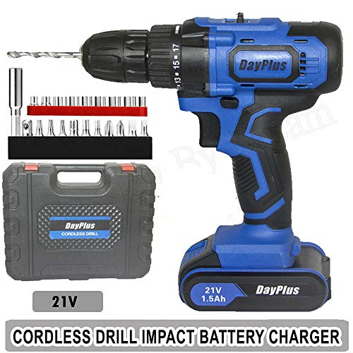 21V Power Tools Cordless Drill Driver Kit, 18+1 Torque Setting,3/8' Keyless Chuck, Two Speed Driver, Includes Lithium Ion Batteries and Charger, 29pcs Accessories,Blue