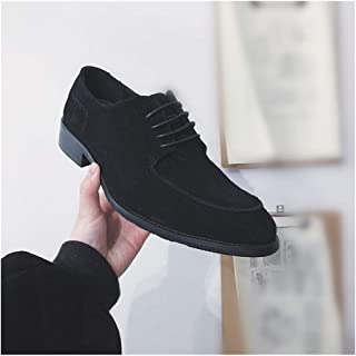 SHENTIANWEI Classic Oxford for Men Stitched Dress Shoes Lace up Suede Rubber Sole Pointed Toe Low Block Heel Patchwork Lightweight Solid Color (Color : Black, Size : 7.5 UK)