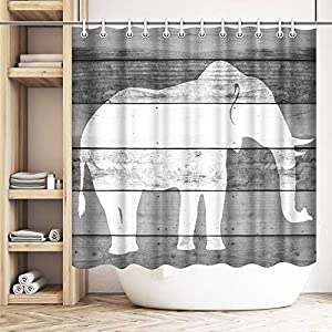 Artsbay Elephant Shower Curtain Black and White Elephant Silhouette on Wooden Background Wild Animal Shower Curtain Modern Animal Bathroom Decoration Waterproof Polyester with 12 Hooks 72 Inches Long