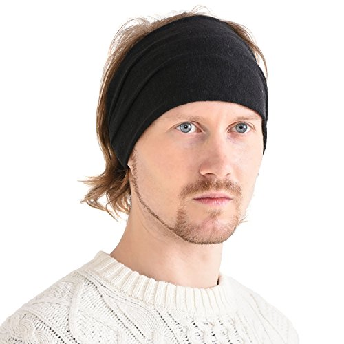 CHARM Casualbox Leinen Kopf Band Bandana natürlich elastisch Haarband Sport Mode wickeln Schwarz