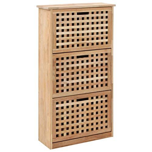 Cikonielf - Zapatero de madera con 3 compartimentos de almacenamiento para entrada, 55 x 20 x 104 cm, color natural