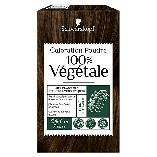 Schwarzkopf - 100% Végétale - Coloration Cheveux Poudre Naturelle - Formule Végane - Châtain Foncé